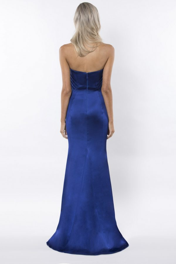Beautiful strapless satin formal dress back