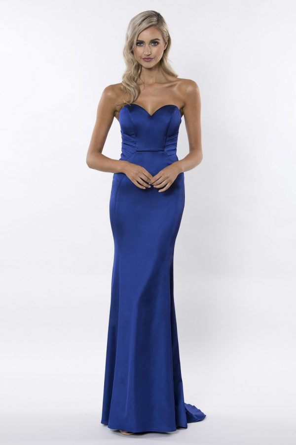 Beautiful strapless satin formal dress