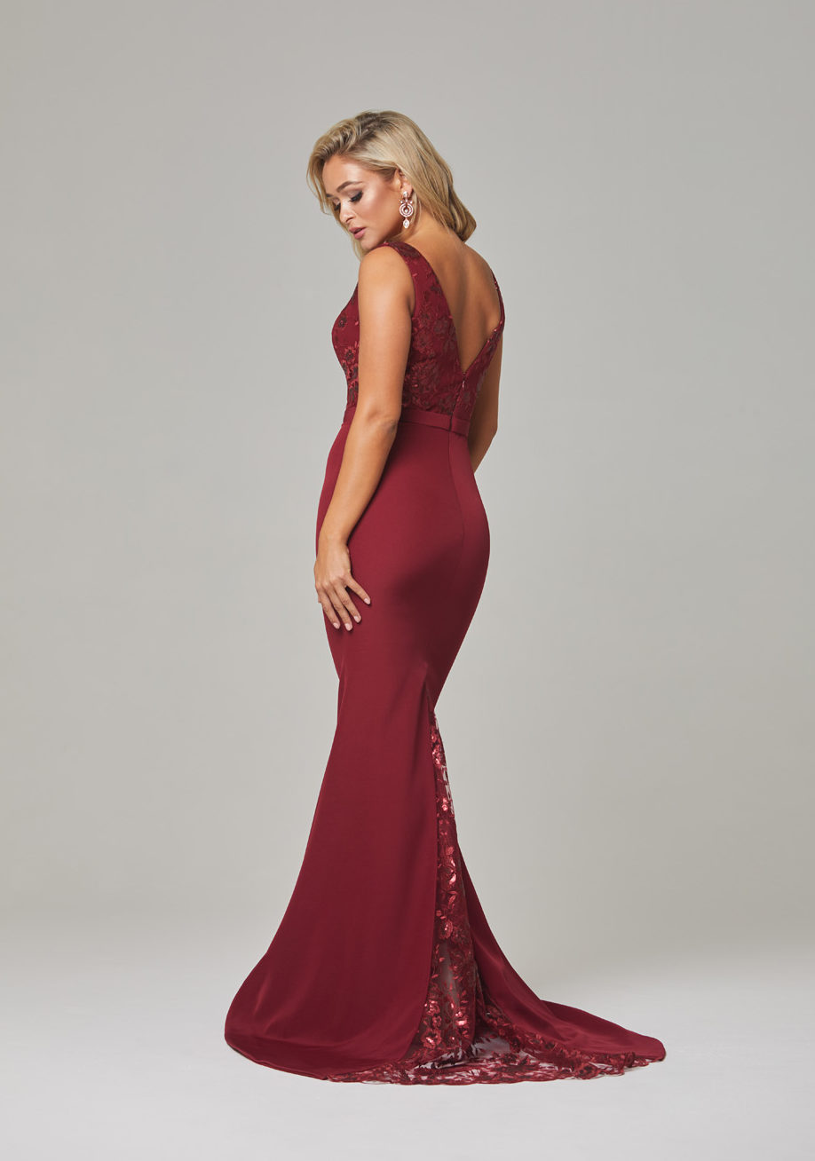 Blakely Evening Dress-Wine-back