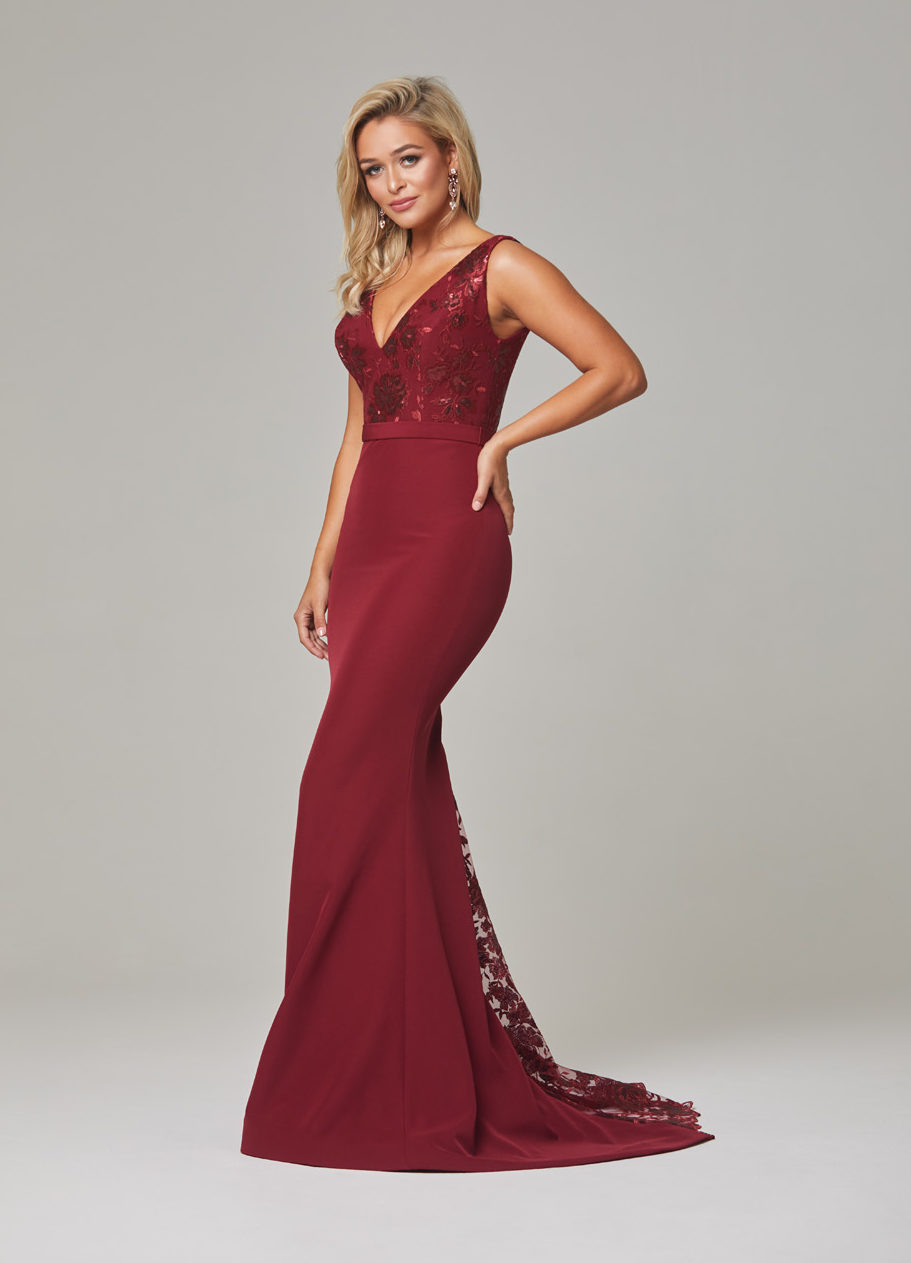 Blakely Evening Dress-Wine-side