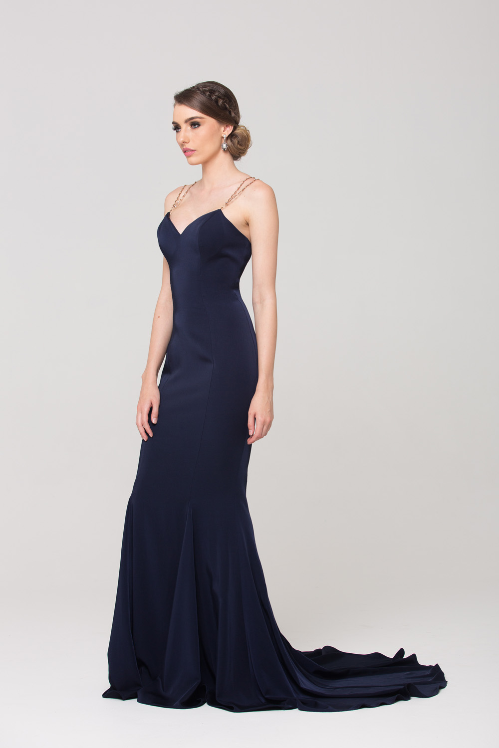 Bree fitted evening dress side