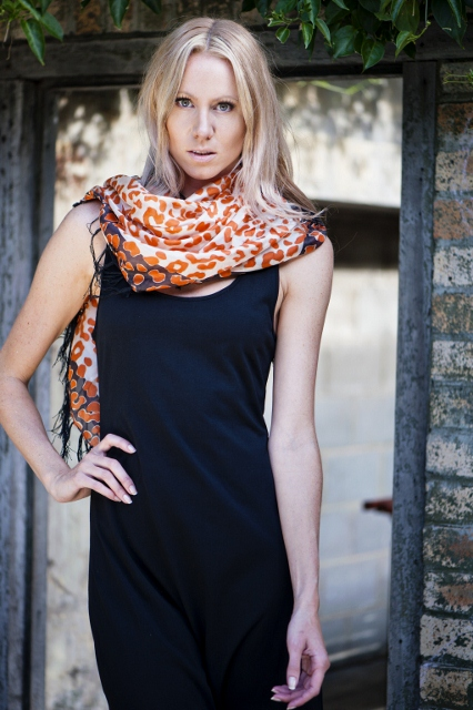 Orange leopard silk scarf - Sentani Boutique Bridal, Formal And Evening Dresses Fashion Store