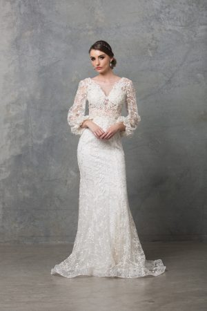 Catalina long sleeve wedding dress TC220 Ivory