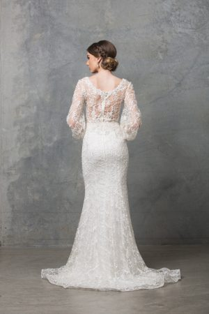 Catalina long sleeve wedding dress back