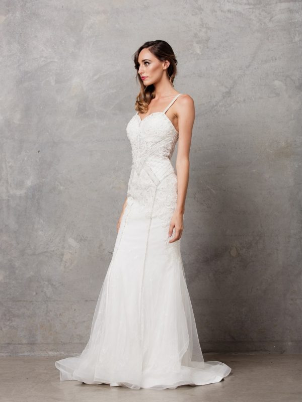 Charlize thin strap wedding dress side