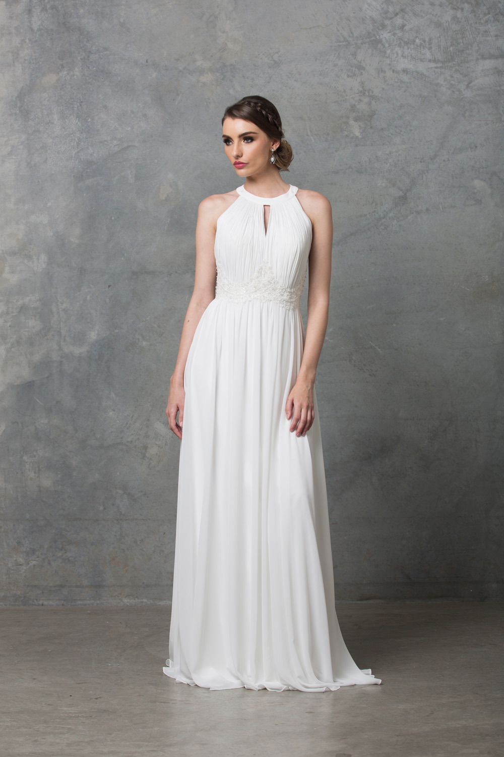 Chiarie long caped wedding dress detached cape