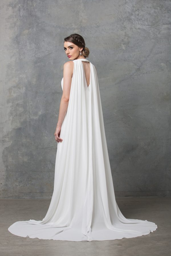Chiarie long caped wedding dress back
