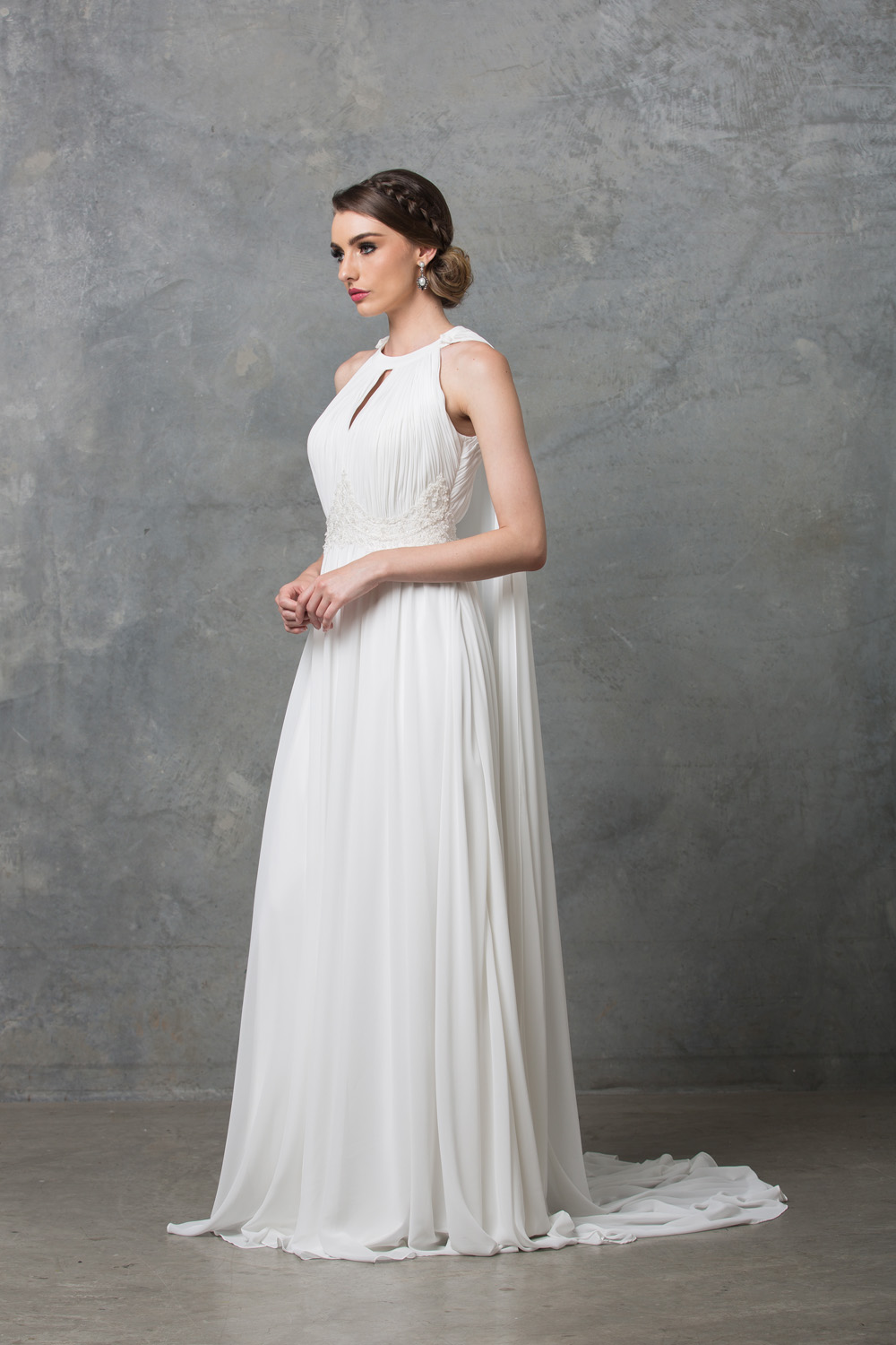 Chiarie long caped wedding dress side