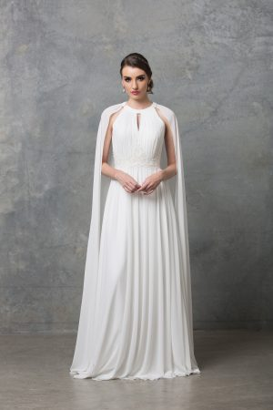 Chiarie long caped wedding dress