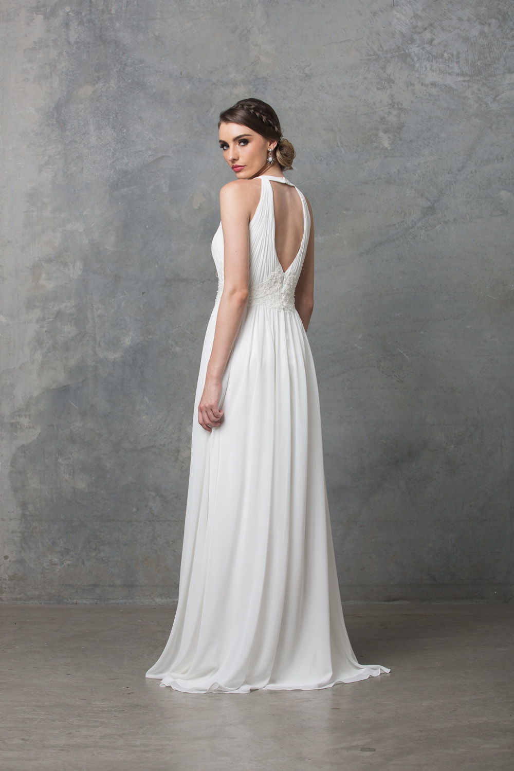 Chiarie long caped wedding dress detached cape back