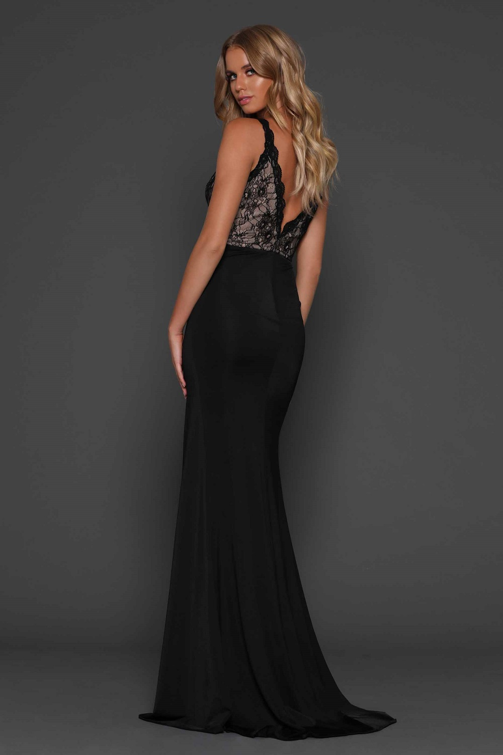 Christina Black Evening dress back