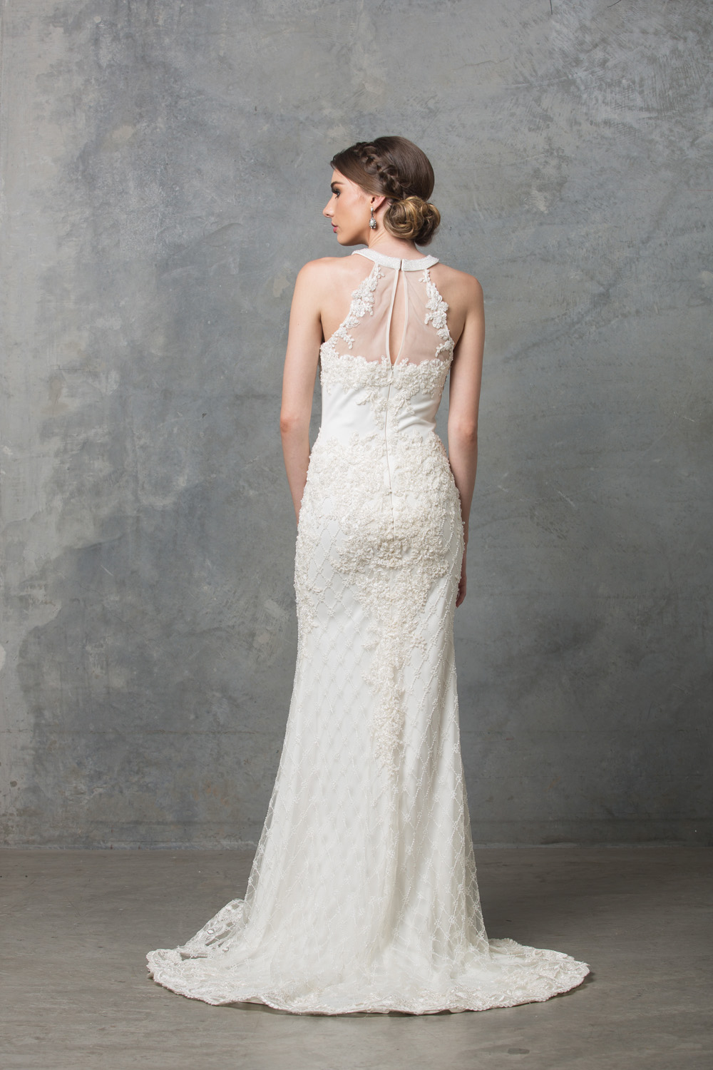 Clarissa beaded high neck wedding dress back
