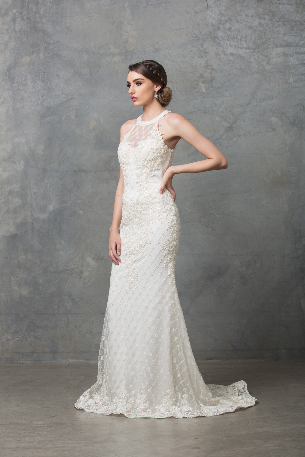 Clarissa beaded high neck wedding dress side