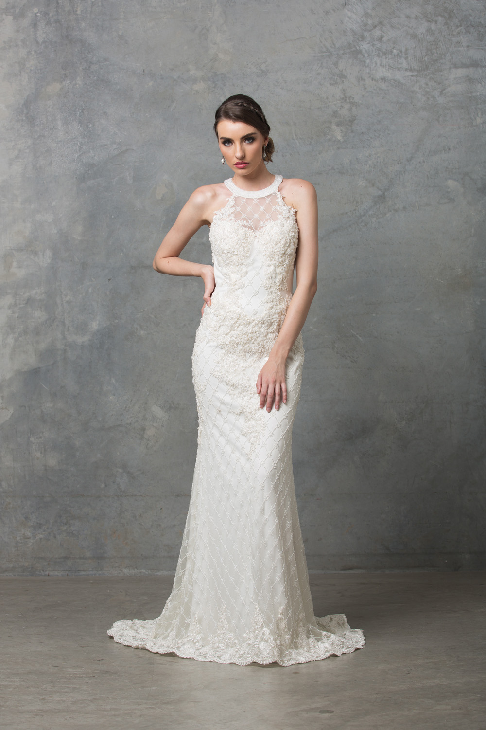 Clarissa beaded high neck wedding dress sentani boutique clarissa beaded high neck wedding dress junglespirit Choice Image