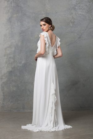 Clover boho wedding dress back