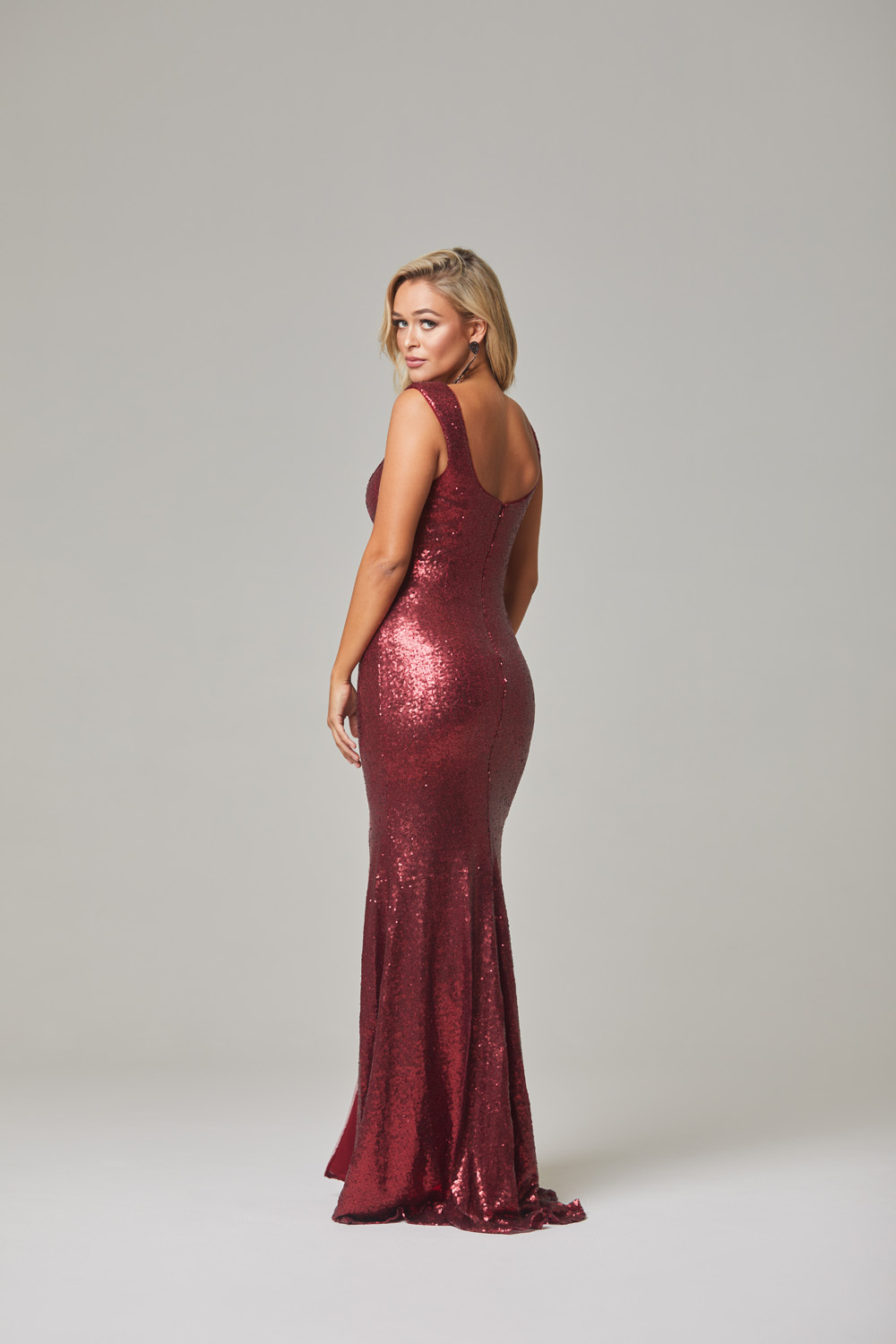 Davina Evening Dress-Cherry-back