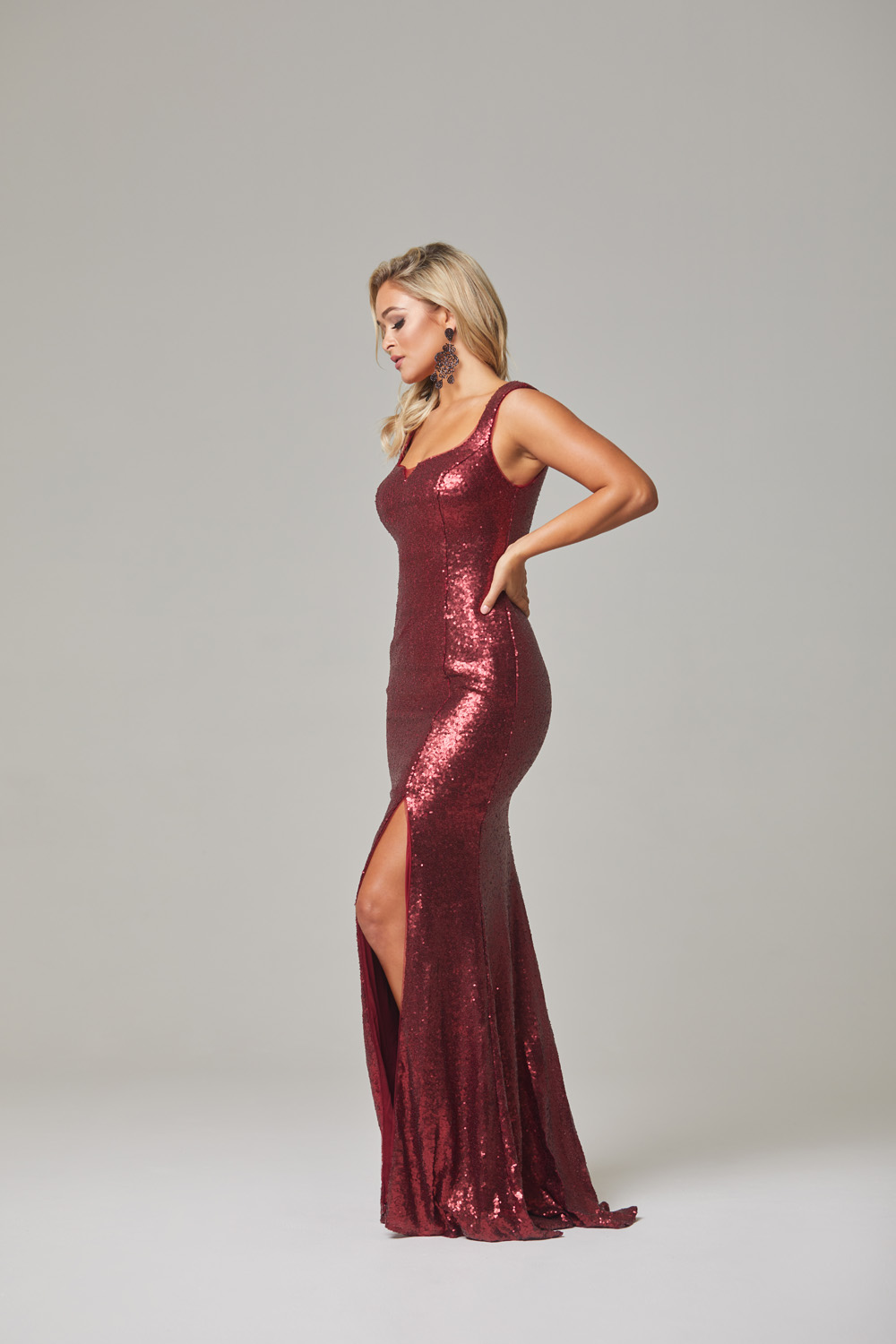Davina Evening Dress-Cherry-side