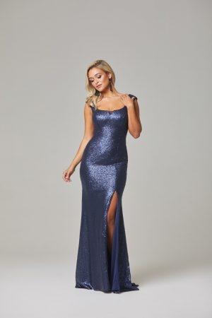 Davina Evening Dress-Navy