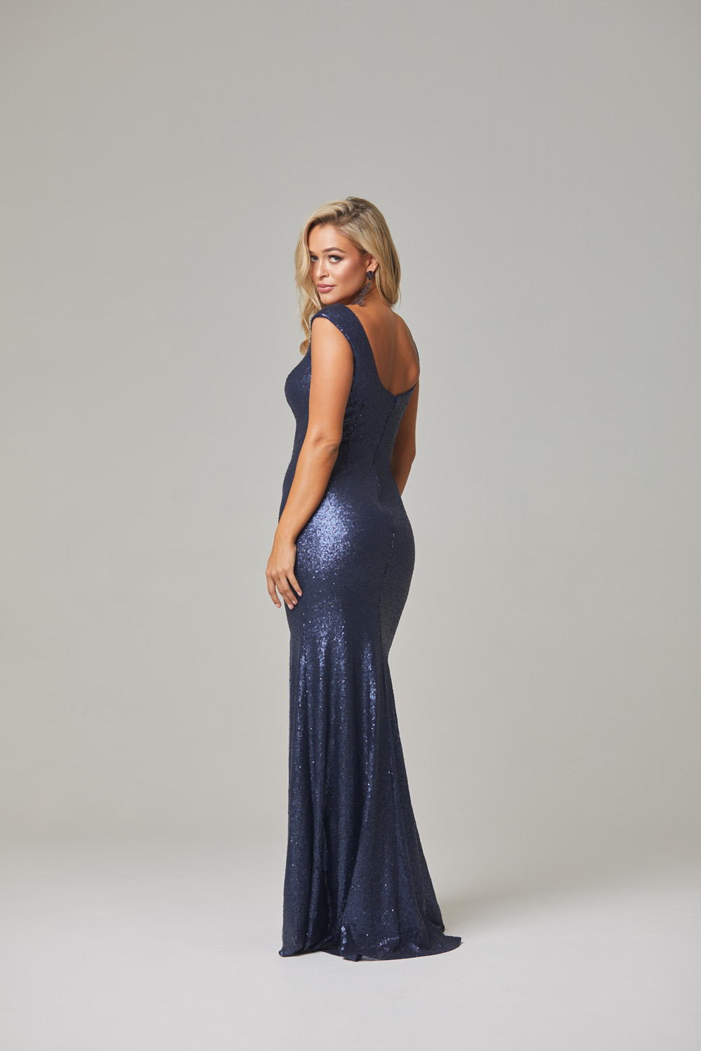 Davina Evening Dress-Navy-back