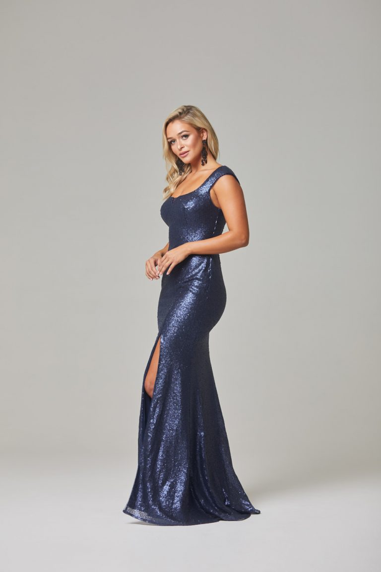 Davina Evening Dress-Navy-side