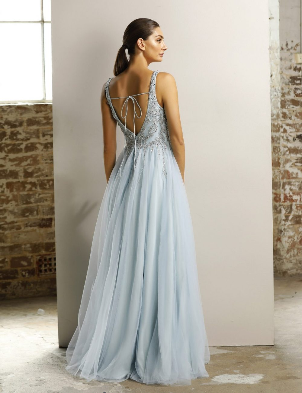 Evah tulle beaded evening dress
