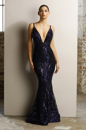 Freya low back sequin formal dress