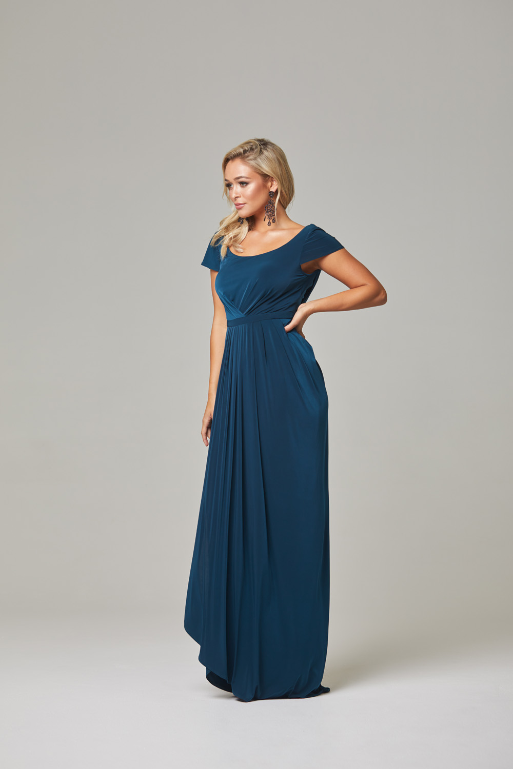 Gloria Bridesmaid Dress-Teal-Side