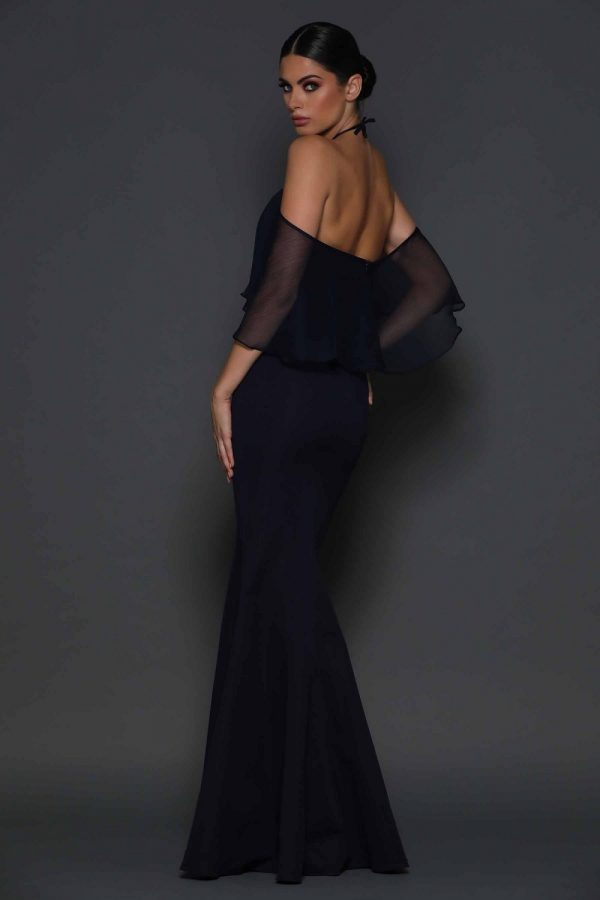 Imani off the shoulder draped sleeve back