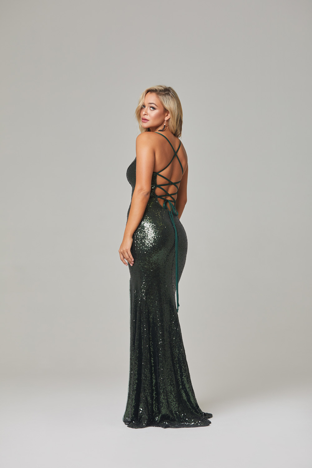 India Evening Dress-Emerald-back