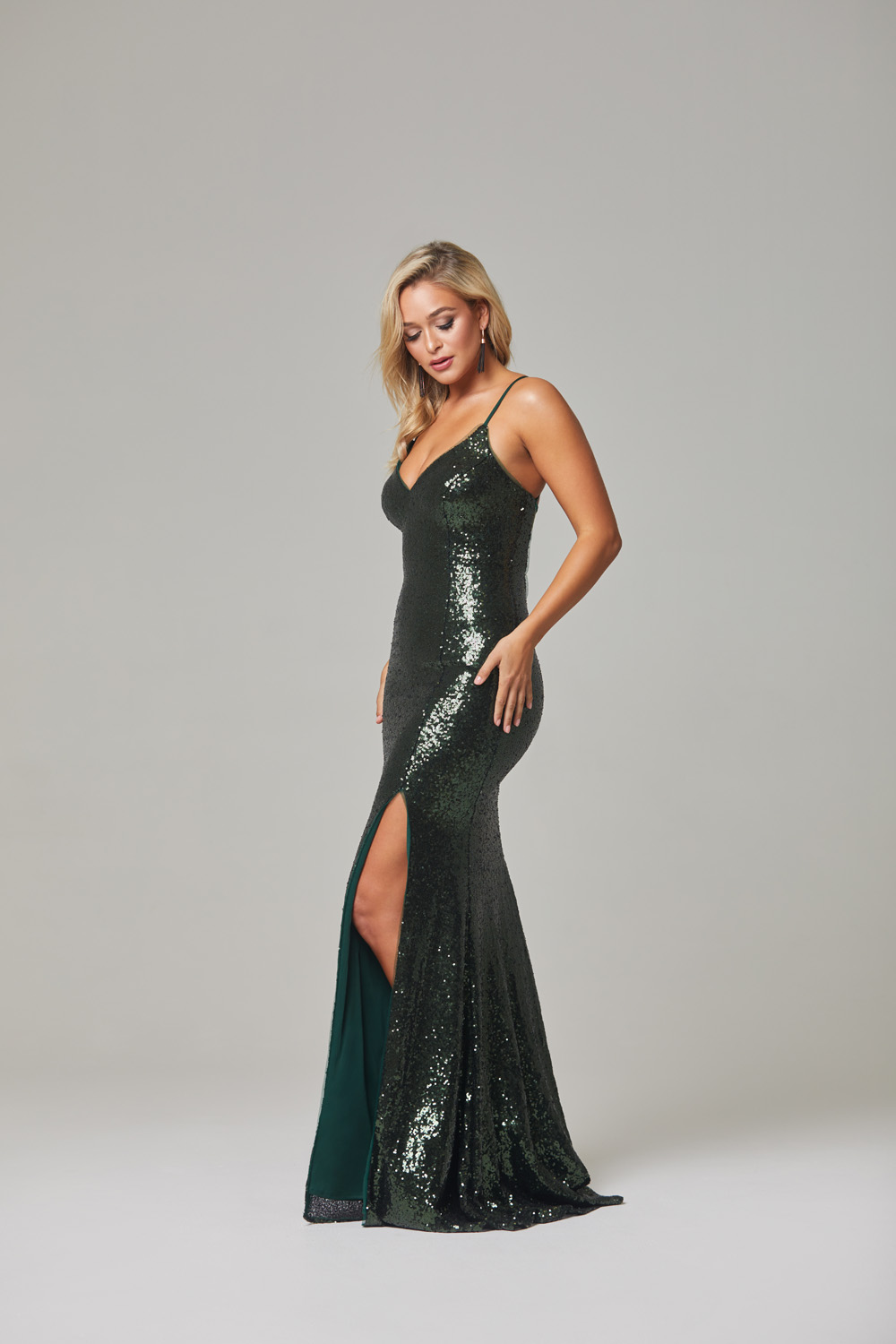 India Evening Dress-Emerald-side
