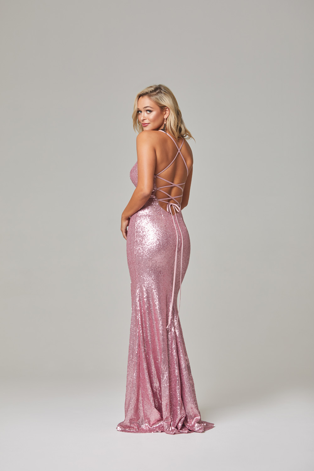 India Evening Dress-Pink-back