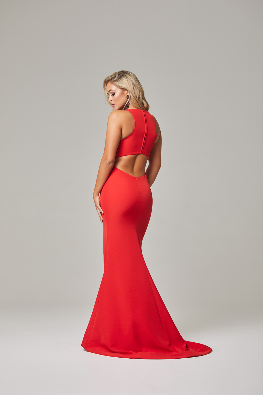 Jamie Evening Dress-Red-back
