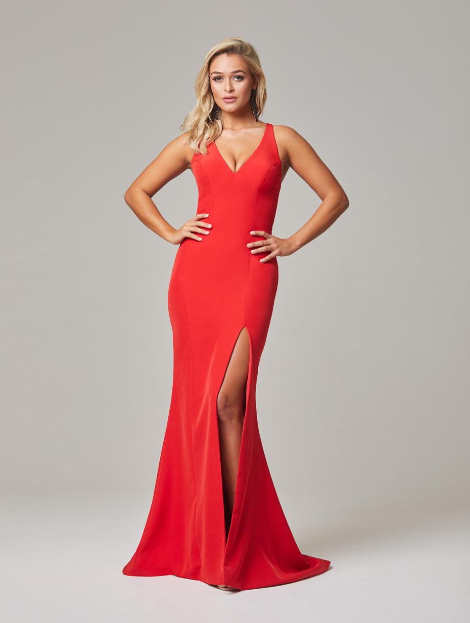 Jamie Evening Dress-Red