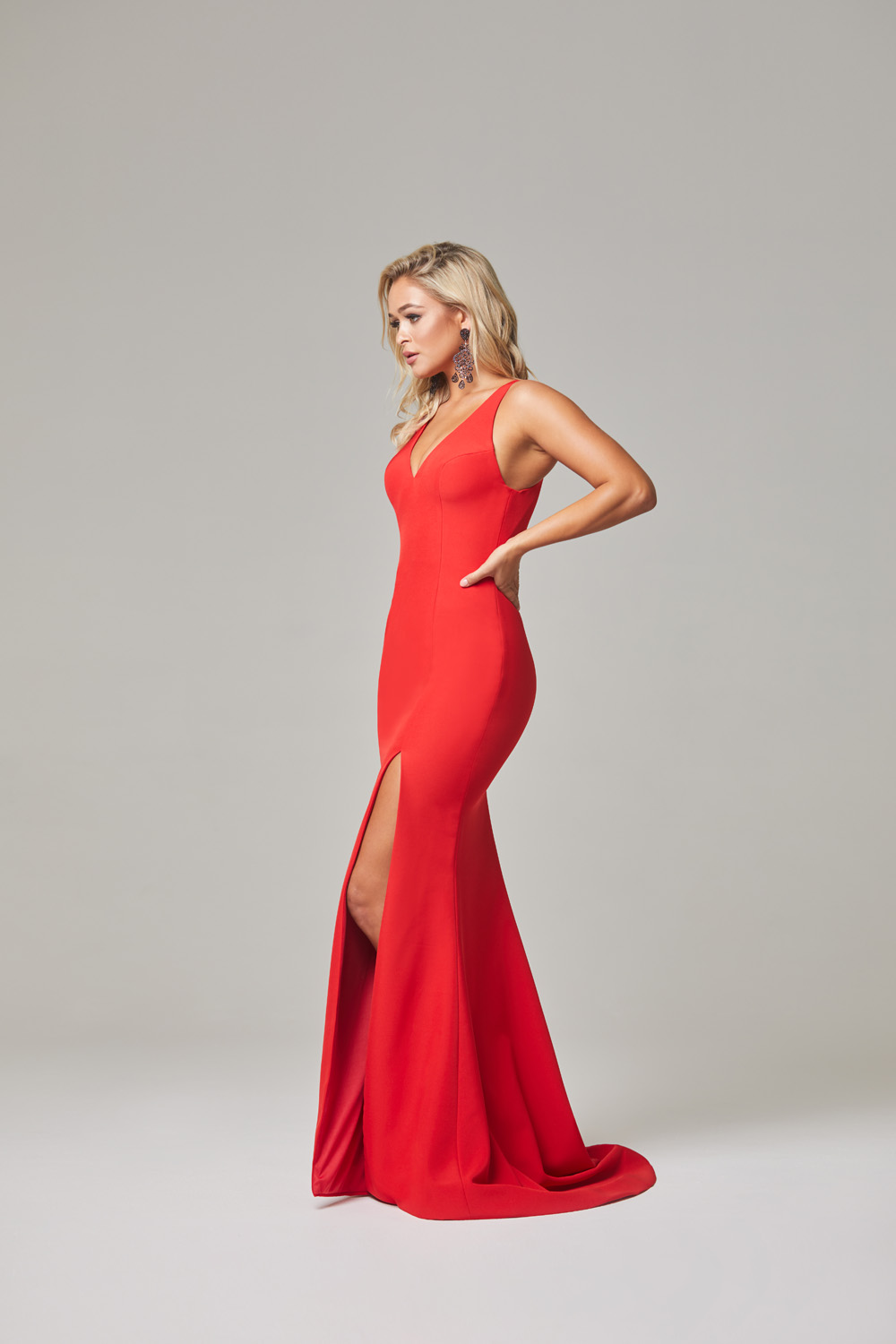Jamie Evening Dress-Red-side