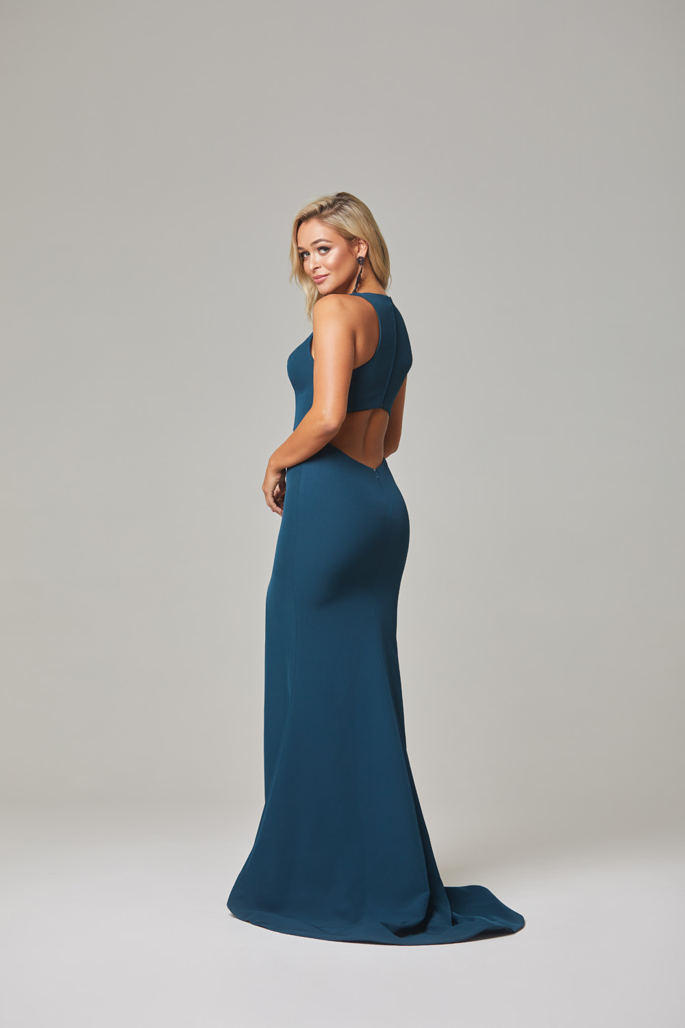 Jamie Evening Dress-Teal-back