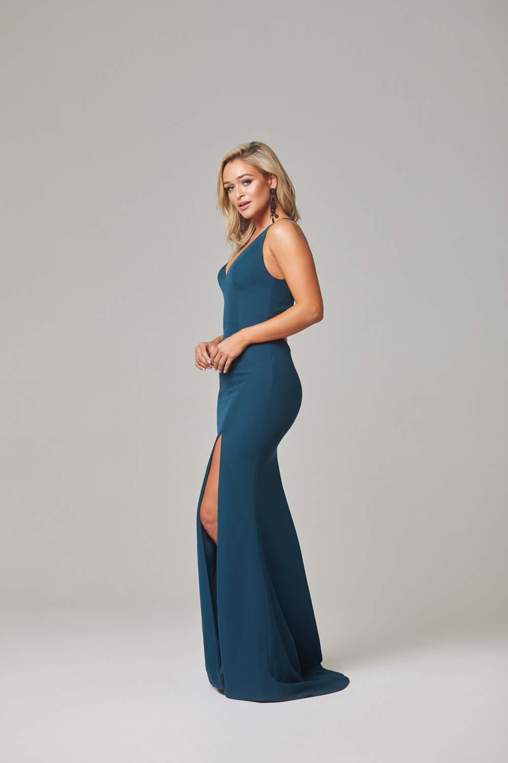 Jamie Evening Dress-Teal-side