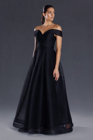 Jayne off the shoulder mesh formal dress
