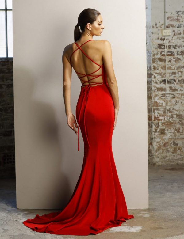 Caprice low back fitted formal dress