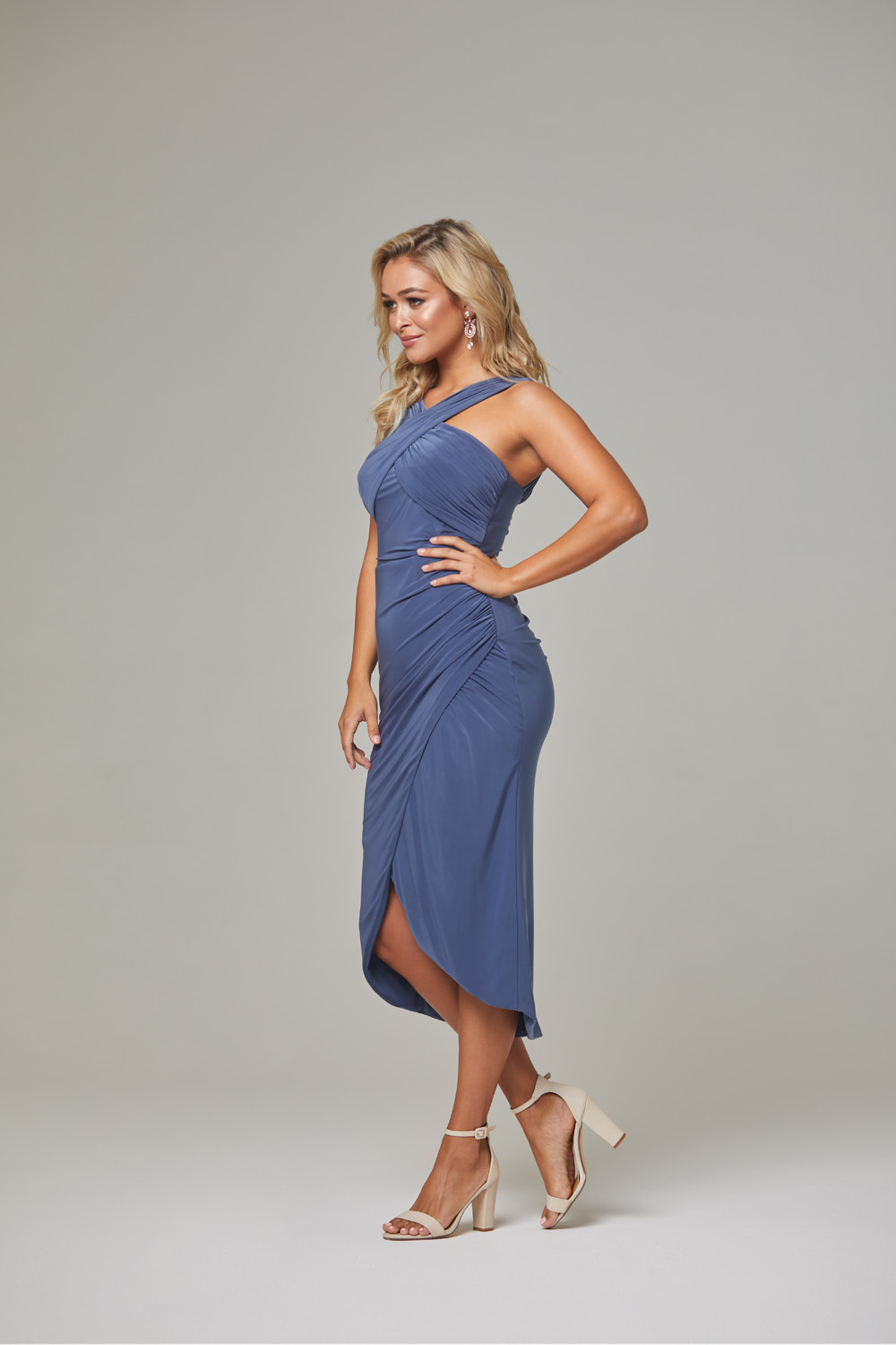 Kelly Bridesmaid Dress-DustyIndigo-side