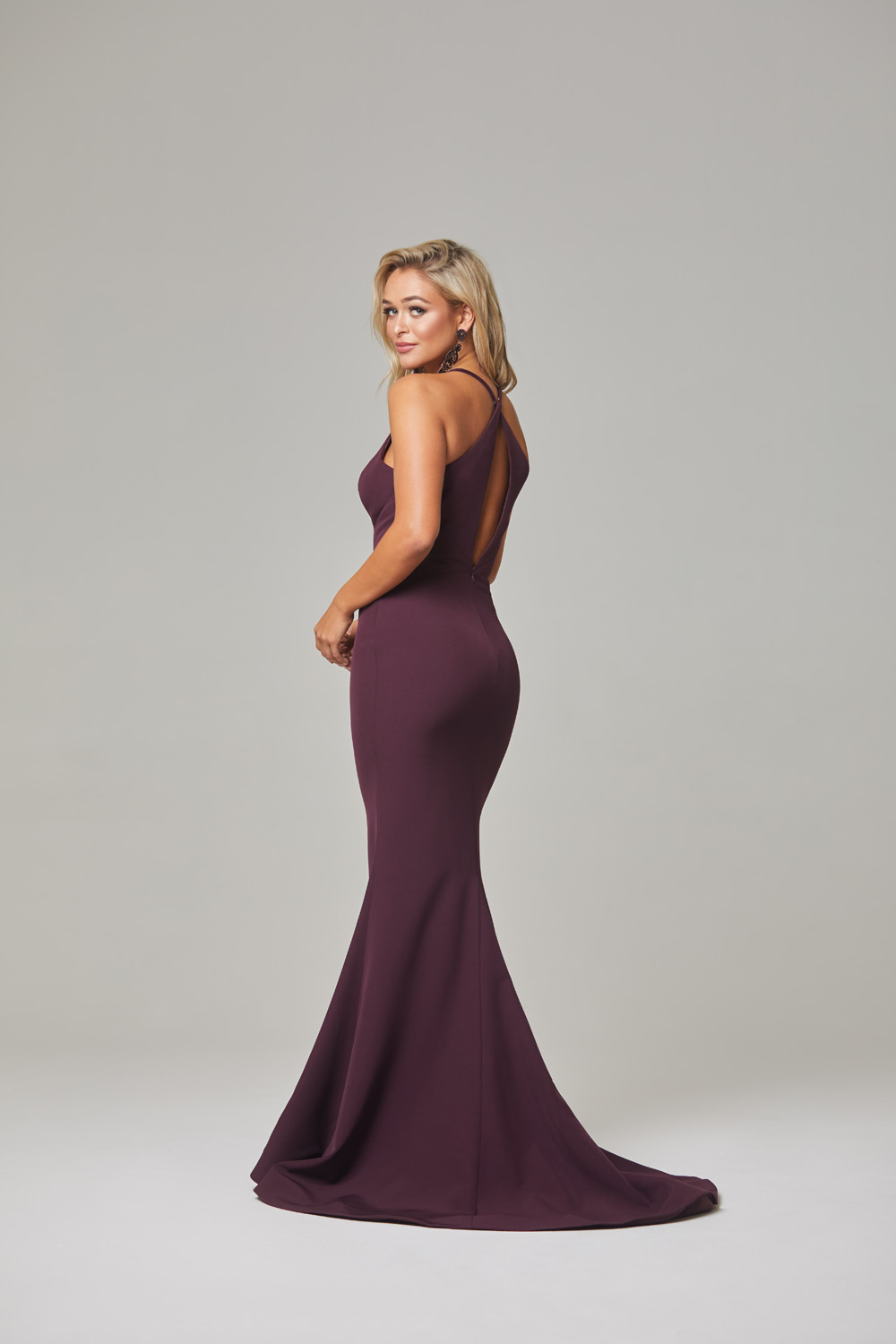 Kendra Evening Dress-Plum-back
