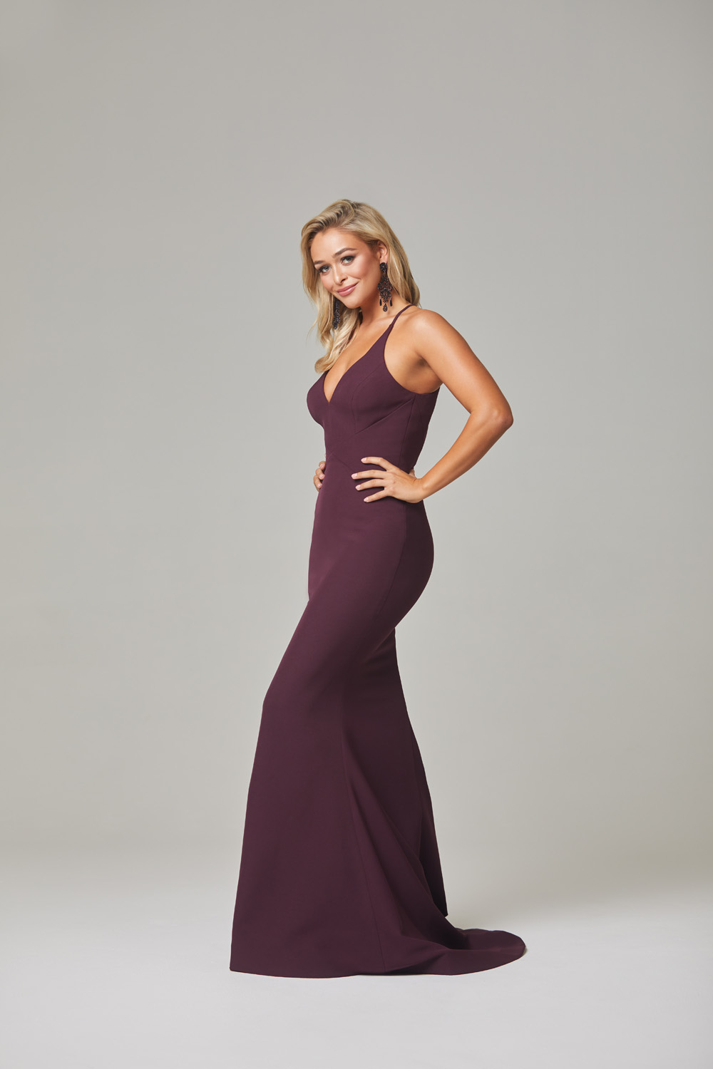Kendra Evening Dress-Plum-side