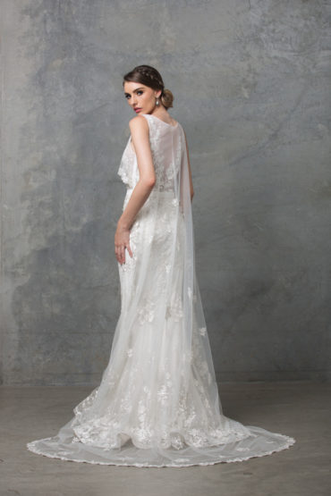 Lilith lace applique wedding dress side back