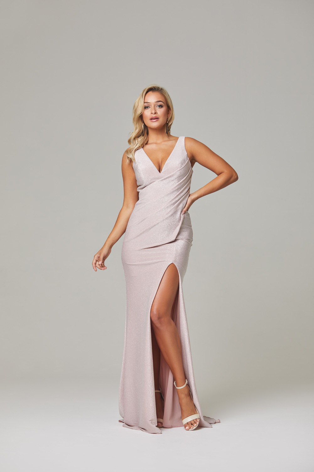 Londyn Evening Dress-rose-front