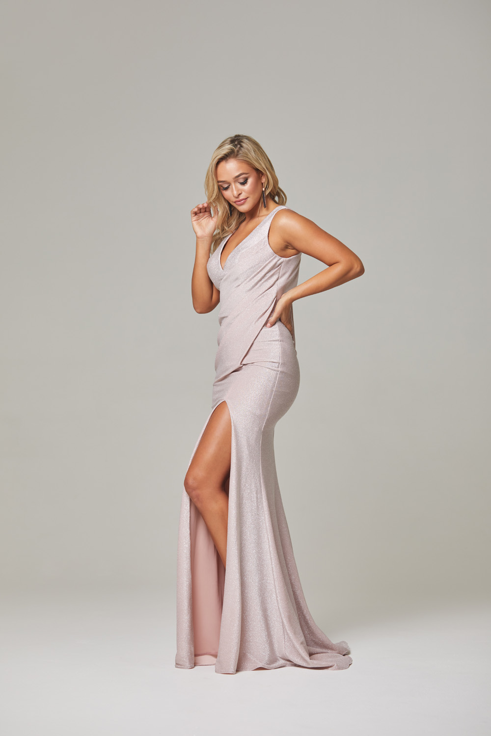 Londyn Evening Dress-rose-side