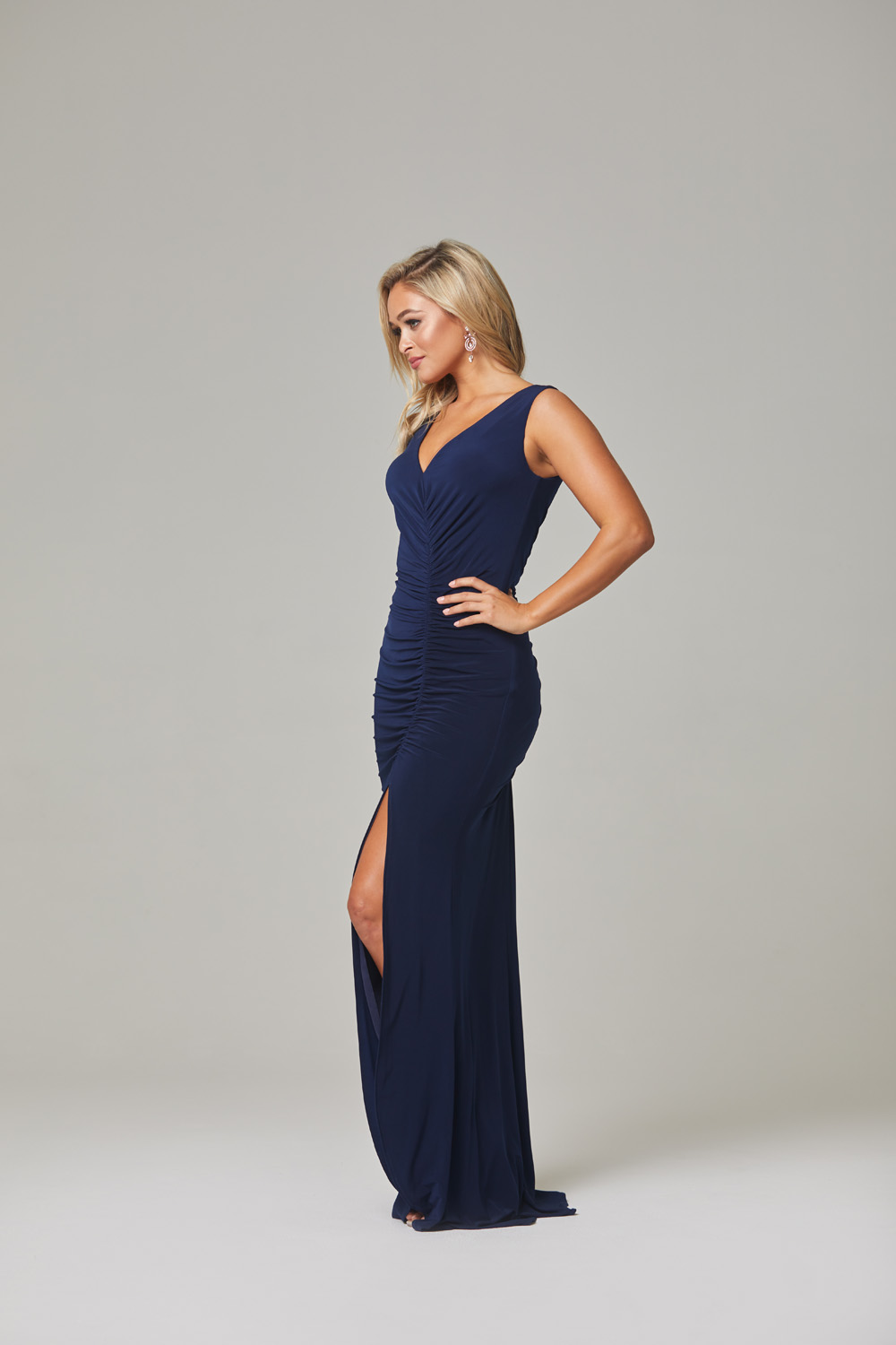 Lucia Bridesmaid Dress-Navy-side