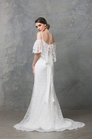 Maisie bohemian wedding dress back