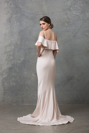 Margot ruffle shoulder wedding dress back