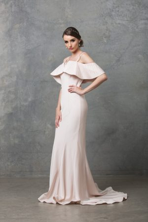 Margot ruffle shoulder wedding dress side
