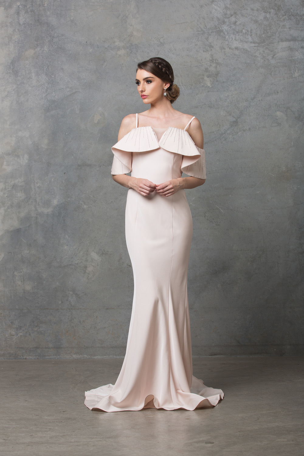 Margot ruffle shoulder wedding dress
