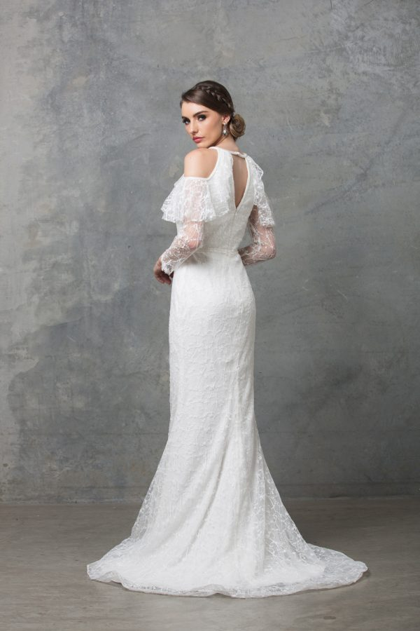 Ophelia long sleeve wedding dress back
